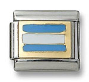 18K-Gold-Italian-Charm-Enamel-Flag-Argentina-9-mm-Stainless-Steel-Link-Bracelet