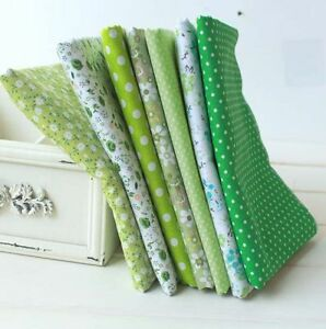 7-pcs-BUNDLE-green-COTTON-FABRIC-FLORAL-DOTS-CHECKED-Joblot-Mixed-Craft