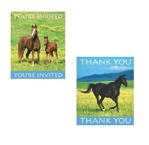 32 pc HORSE THEMED Party INVITATION THANK YOU card bundle Birthday