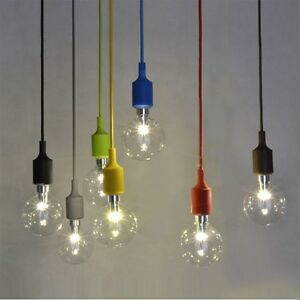 Details About E27 Colorful Silicone Ceiling Rope Cord Pendant Lamp Light Bulb Holder Fixture