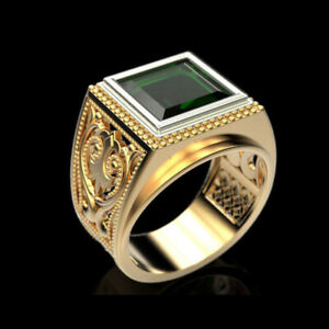 18-Kt-Solid-Yellow-Gold-Vintage-Fine-Jewelry-Green-CZ-Men-039-S-Ring-Size-9-10-11-12