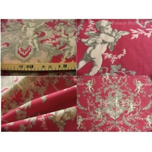 Coupon-fabric-by-50cm-toile-de-jouy-angel-red-background