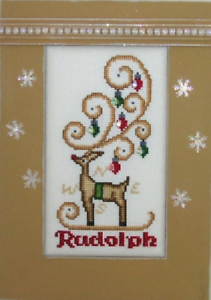 HINZEIT-Cross-Stitch-Chart-with-6-Crystals-RUDOLPH-Christmas