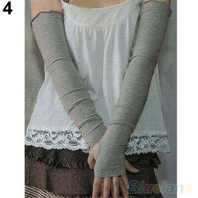 LADY'S PERFECT COTTON UV PROTECTION ARM WARMER LONG FINGERLESS GLOVES SLEEVES