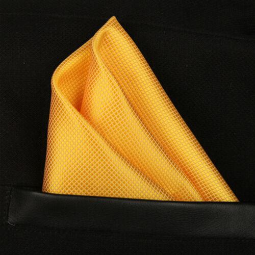 Yellow Gold Solid Check Men Pocket Square Hanky Wedding Party Handkerchief T10