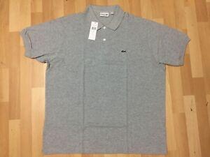 Details about MENS Lacoste POLO T-SHIRT 100% COTTON GREY USA 3XL UK 4XL P2P27.5 L32 RRP£95