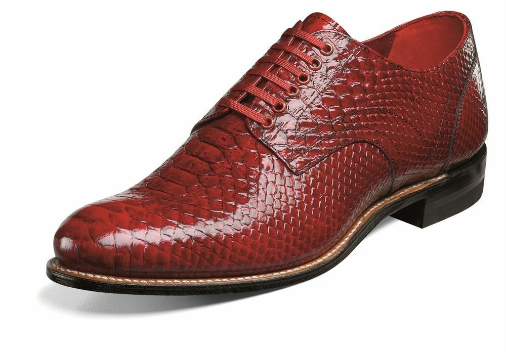 Stacy Adams Mens Madison Red Anaconda Print Dress Oxford Club Party Lace shoes