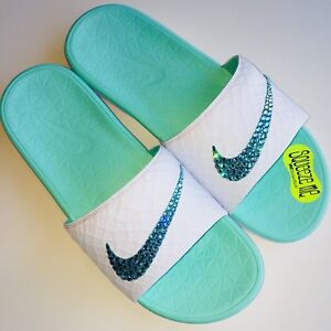 Image is loading Bling-Nike-Benassi-SolarSoft-Slides-w-Swarovski-Crystals- fb55cae8a