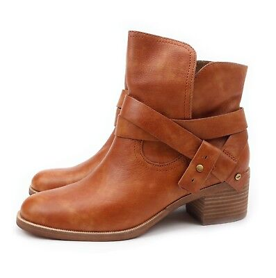 afe88aa70db UGG Australia Elora Leather Chestnut Ankle Boots 1017471 US 12 NEW!   eBay