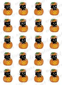 20 HALLOWEEN NAIL DECALS * BLACK CAT IN PUMPKIN * Water ...
