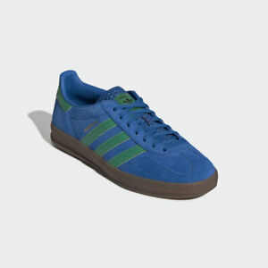 Details about Adidas Gazelle Indoor Trainers Size UK 6 Blue / Green Stripes Unisex BNIBWT