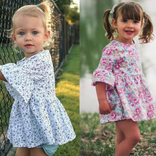 Toddler Baby Girls Print Ruffles Half Sleeve Dress Summer Skirt Outfits Clothes