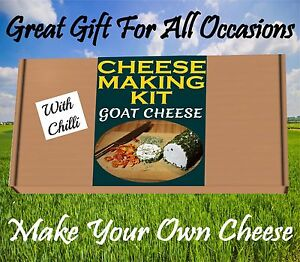 2 x Cheese Making KIT GOAT CHEESE & CHILLI MIX  Great Gift Present Birthday