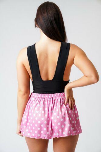 Rose Polka Dot Jupe taille haute Micro Mini Pour Filles Femmes /& Mesdames stretch pour 005