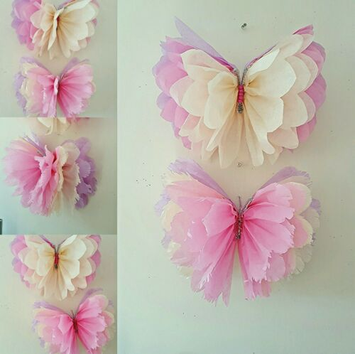 Girls birthday party room  decorations  nursery bedroom 3 hanging  butterflies