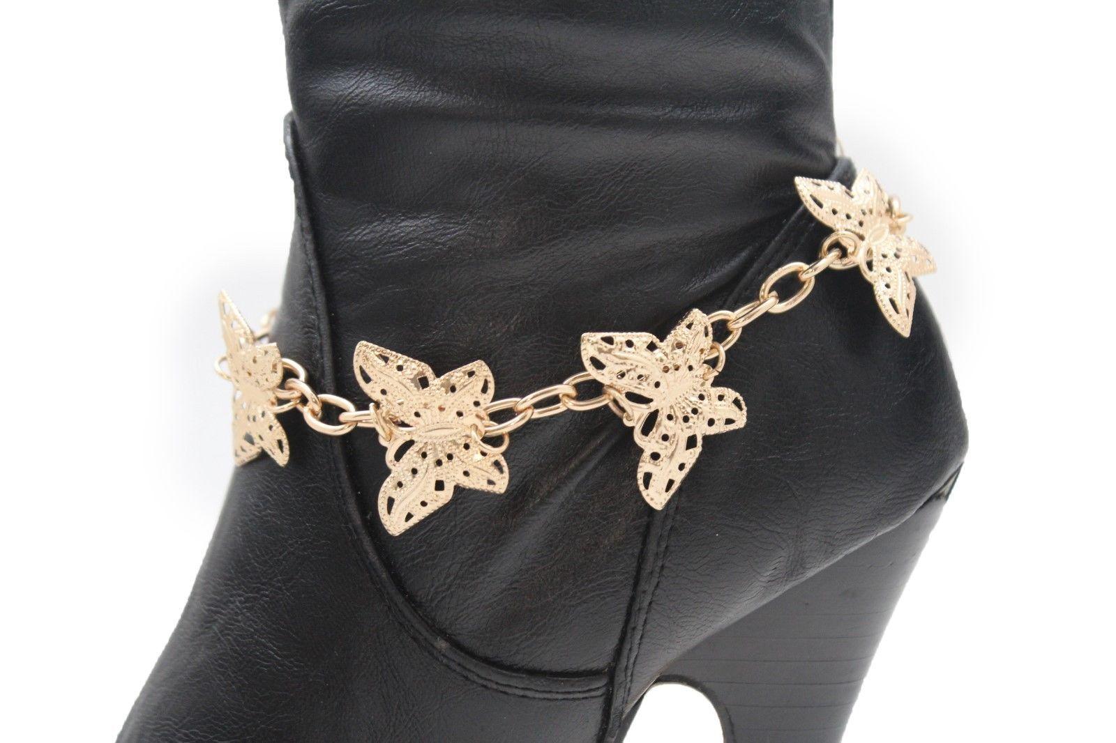 New Women Gold Metal Chain Boot Bracelet Western High Heels Shoe Charm Butterfly
