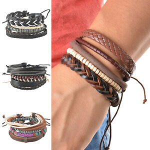 Fashion-Braided-Adjustable-Leather-Bracelet-Punk-Jewelry-Cuff-Women-Men-Gift