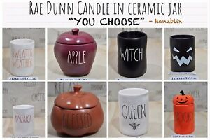 Rae-Dunn-Candle-Scented-Ceramic-Jar-034-YOU-CHOOSE-SCENT-034-NEW-039-19-039-20-Halloween