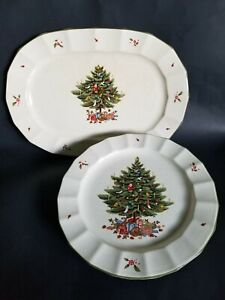 Mikasa-Dinner-10-3-4-034-Plates-amp-Platter-Happy-Holidays-NY101-1982-Christmas-Tree