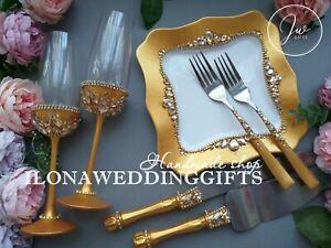 Swarovski Crystal Silver Wedding Gold Cake Knife Server Set Flutes Plate Sparkle