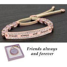 GIFT BOXED Equilibrium Rose Gold Plated Quartz Bracelet Friends Bangle Quote