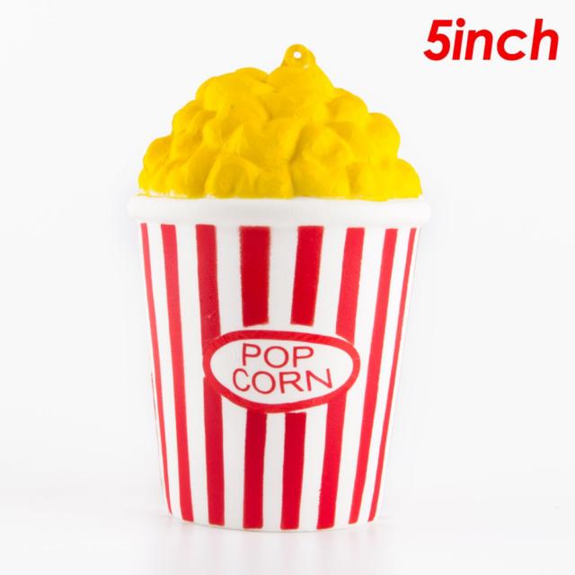 Kawaii Squishy Jumbo Popcorn Cup Slow Rising Cream Scented Strap Food Simulation