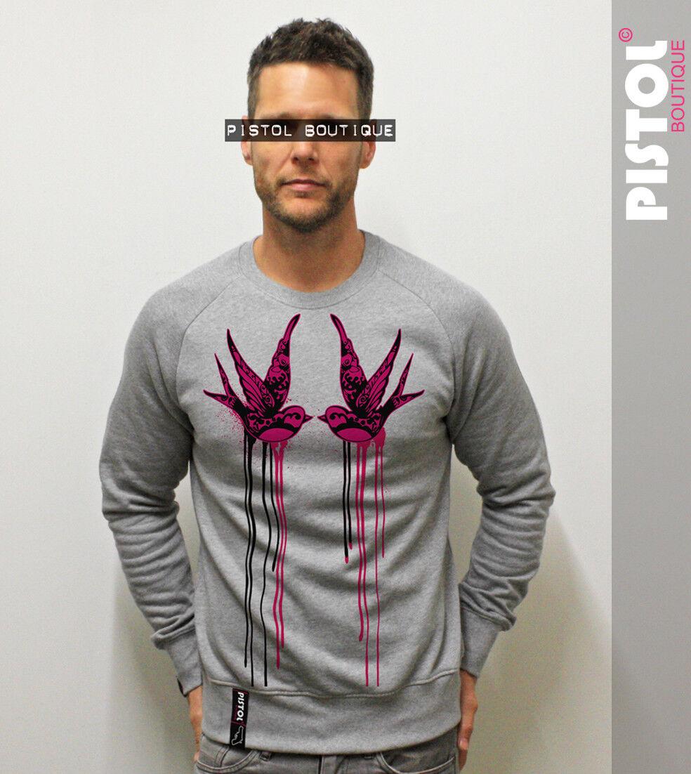 Pistol Boutique mensGrau TATTOO SWALLOW BIRDS fashion casual jumper sweatshirt
