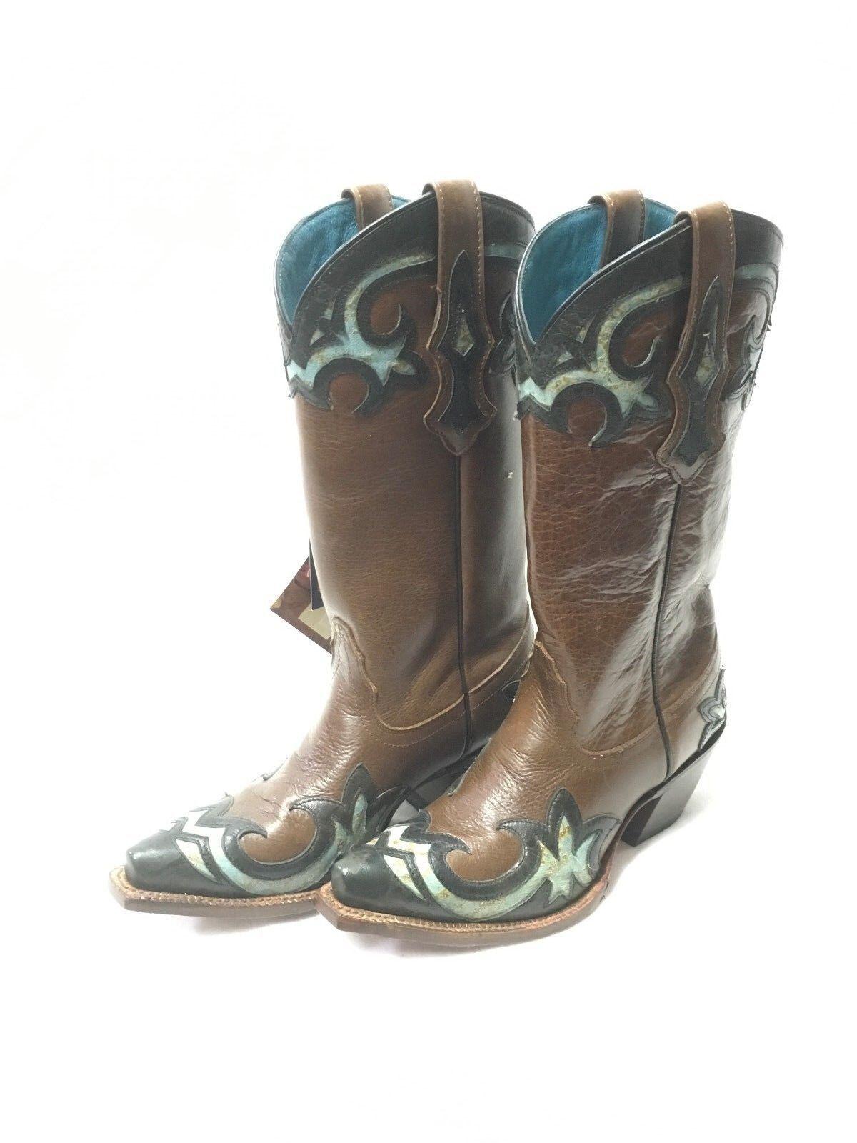 Ladies Tony Lama Vaquero Boots-Black & Turquoise Wing Tip, Style VF6016
