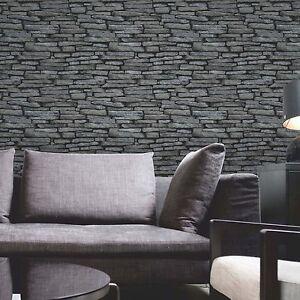 Noir-amp-Argente-Ardoise-Papier-Peint-Effet-Fine-Decor-FD31291-Neuf