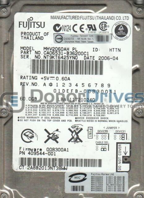 MHV2060AH PL, PN CA06531-B36200C1, Fujitsu 60GB IDE 2.5 Hard Drive