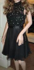 BNWT Ladies Sherri Hill Black Jewel &Lace Floaty Cocktail Short Dress Size 10-12