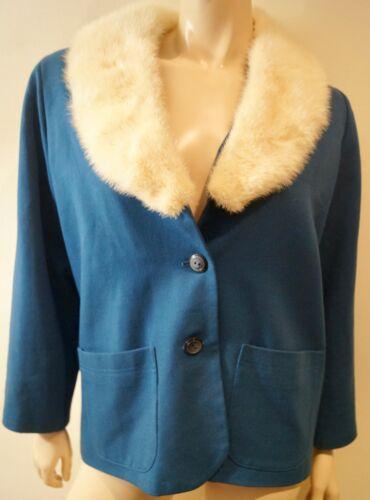 Giacca in con collo con maniche a lunghe scialle collo color blu a da donna collo pelliccia rwxpFq7r0