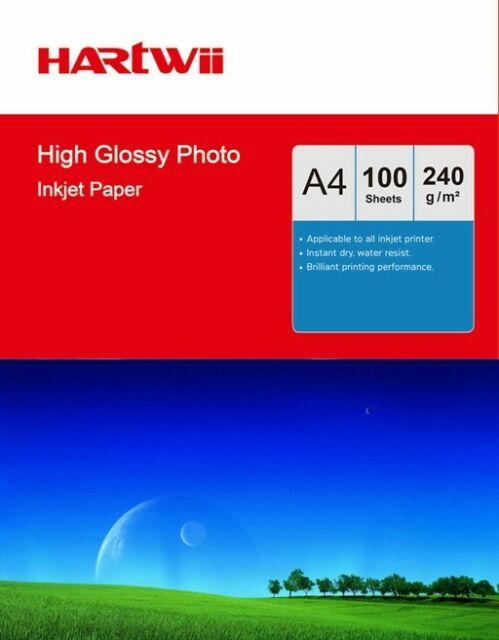 Hartwii 100 Sheets A4 230Gsm High Glossy Photo Paper Inkjet Paper Printer Inkjet