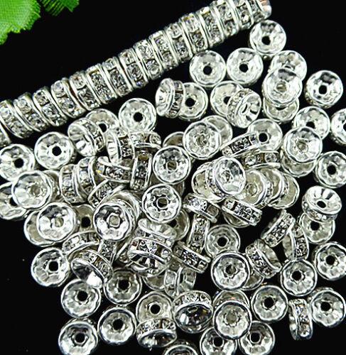 100pcs Beautiful silver set white Crystal diamond Bead al BC1065