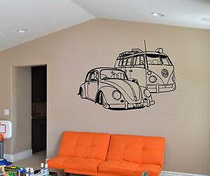 Camper-VW-y-VW-Beatle-Coche-Adhesivo-Pared-Vehiculo-Pegatina-vinilo-mural-wa520