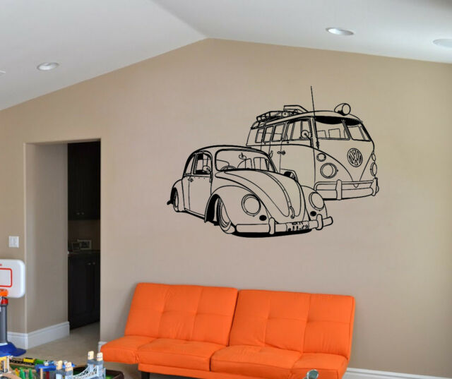 VW Camper Van And VW Beatle Car Wall Art Sticker Vehicle Decal Vinyl Mural WA520