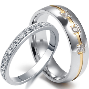 2-PCS-His-Hers-Wedding-Ring-Set-Mens-ETERNITY-925-Women-039-s-STERLING-SILVER-Bands