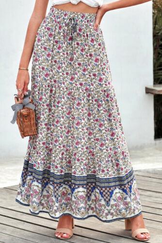 Blue Ditsy Floral Print Boho Ruffle Tiered Elastic Waist Maxi Skirt Large 12-14