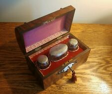 SUPERB VICTORIAN WALNUT PERFUME BOX BRASS MOUNTS & 3 SILVER TOP BOTTLES H/M 1874