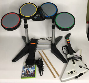 Xbox-360-Rock-Band-Bundle-Drums-Foot-Pedal-Guitar-Mic-And-Game-TESTED
