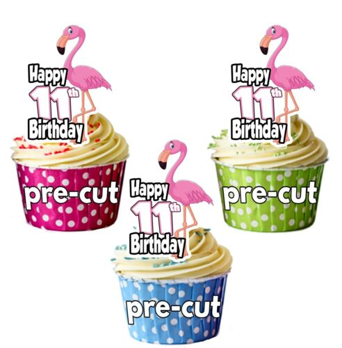 Precut Edible Cupcake Toppers Cake Decorations 11th Birthday Pink Flamingo