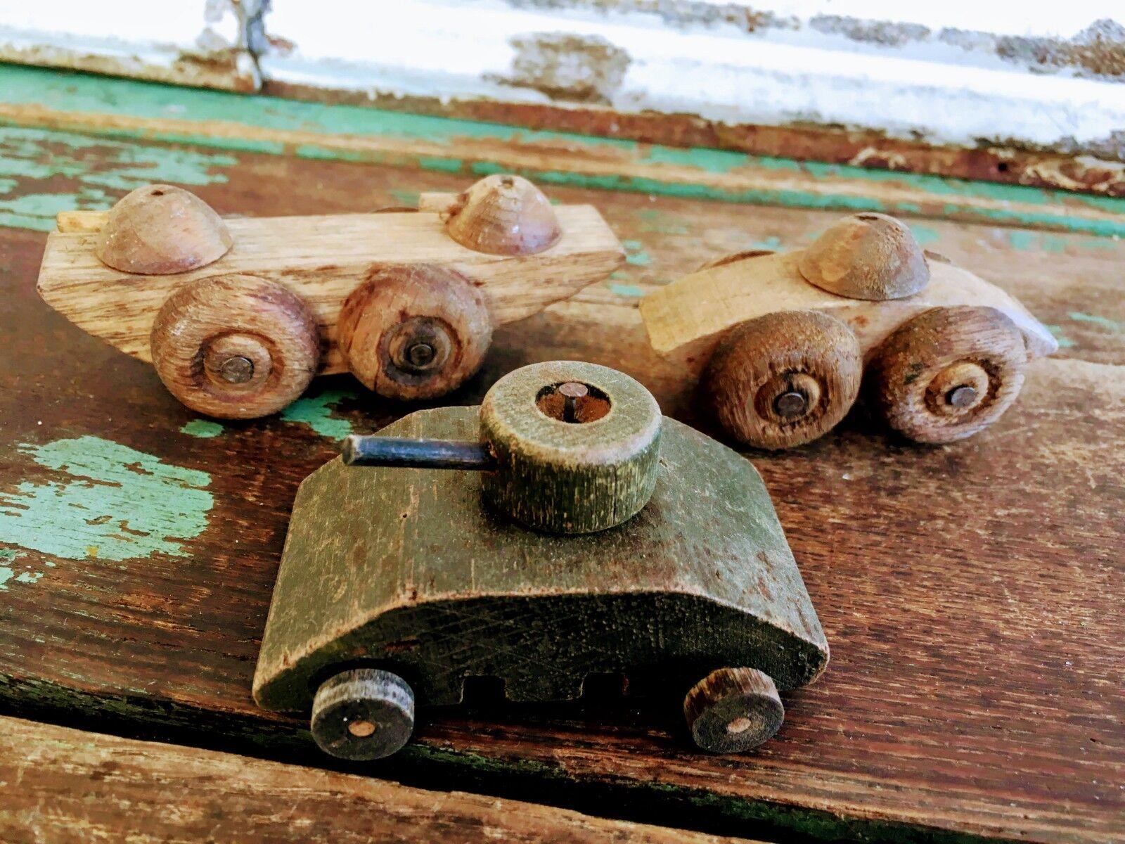 Antique Lot Folk Art Hand Made Military War Tanks Wood Wooden