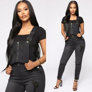 Details about Fashion Nova Black Denim Overalls Womens Small Pre Distressed  Skinny Jeans Punk