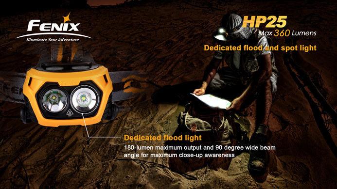 Fenix HP25 StrålkaStjärnae - orange - 360 -LuMäns 4xAA Batterier (ingår inte)