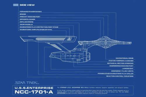 Star Trek Enterprise NCC-1701A Side Blueprint Poster Multiple Sizes 11x17-24x36