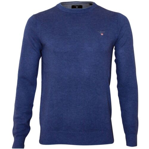 blauw Pique met Gant halsdenim Trui ronde Cotton melange deoWCBrx