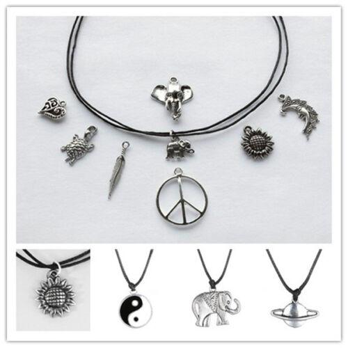 Choker Necklace On Adjustable Black Leather Cord Charm Tibetan Silver Pendant