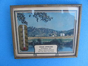 Altoona PA  Advertising Thermometer + Calendar --  Simms Jewelry Store - 1947