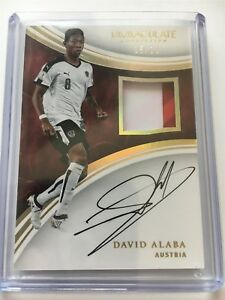 David Alaba Panini Immaculate Soccer 2017 3 Clr Patch Auto Autograph 05/10