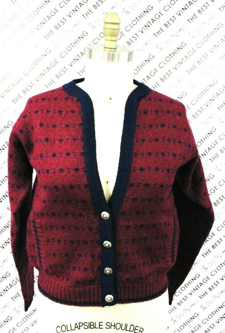 VTG Herman Geist Sweater Cardigan Red/Blue Wool M… - image 2